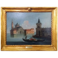 18th Century Bernardo Canal Italian a View of Venice Oil on Canvas Painting