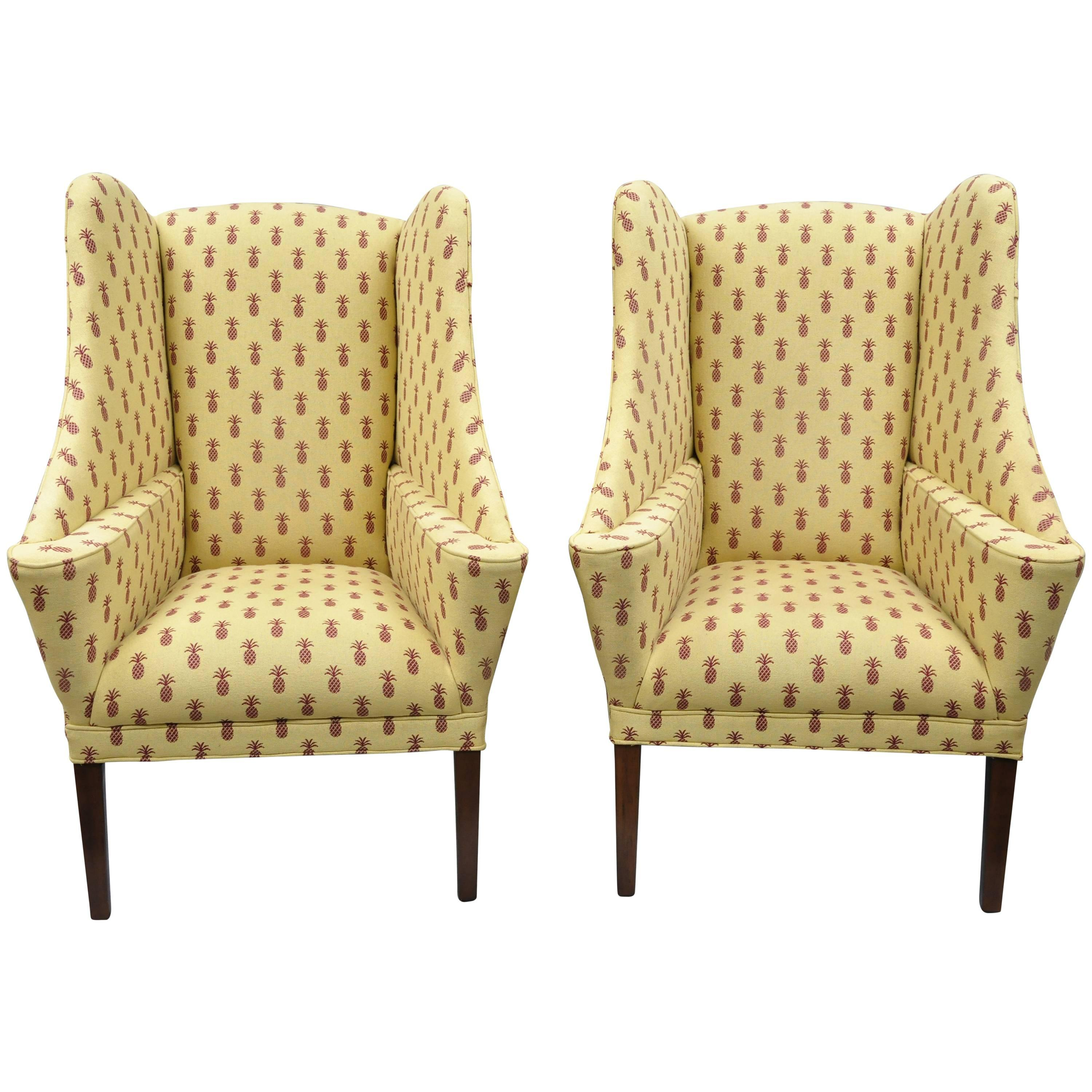 Pair Of Oversized Custom Wingback Chairs With Pineapple Printed Yellow Fabric  For Sale