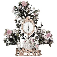 French Louis XV Style '19th Century' Porcelain Floral Decorated Mantel Clock