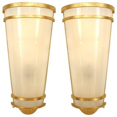 Gilt Metal Midcentury Style Wall Sconces