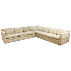 Mid-Century Modern Milo Baughman Two-Piece Beige Sectional Sofa, 1970s