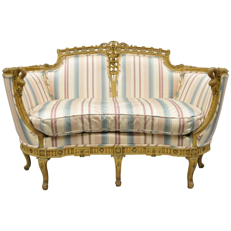 French Regency Style Cream Painted Loveseat Settee Sofa with Swan Carvings