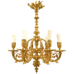 French Victorian Gilt Bronze Chandelier