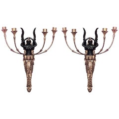Pair of French Empire Gilt Wood and Lacquer Wall Sconces