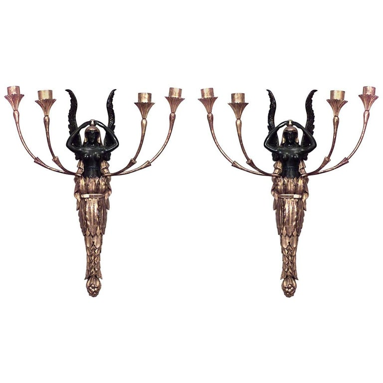 Pair of French Empire Style Giltwood and Black Lacquer Four Arm Wall Sconces