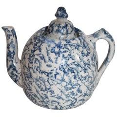 19th Century Spongeware Tea Pot / Rare