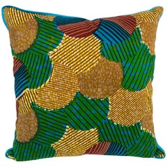 Blue/Brown and Blue-Backed African Wax Print Pillow