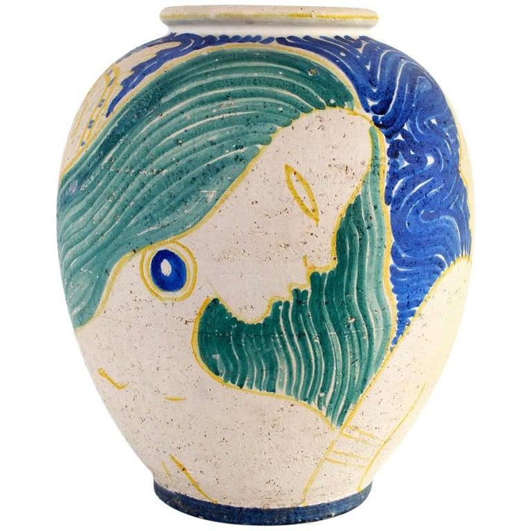 Large Michael Andersen Art Deco Vase for Bornholm, Denmark