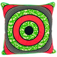 Pink/Green Bullseye and Green Backed African Wax Print Pillow