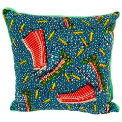 Red/Blue and Green Backed African Wax Print Pillow