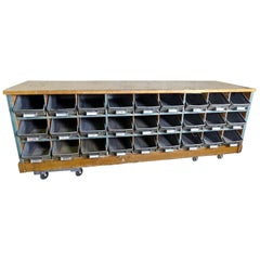 1930s Duluth Hardware Store Cabinet/Work Bench with 27 Galvanized Metal Drawers