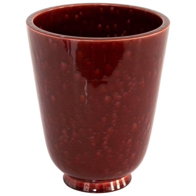 Wilhelm Kage Art Deco Ceramic Vase in a Deep Red Mottled Glaze Gustavsberg