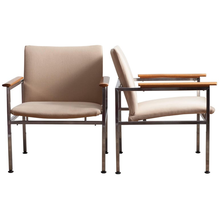 Two Swedish Armchairs Designed by Sigvard Bernadotte in the New Elitis Fabric