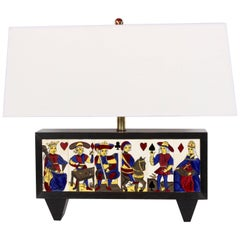 Artist Signed, Hand-Painted Face Card Ceramic Tile and Wood Table Lamp, C. 1950