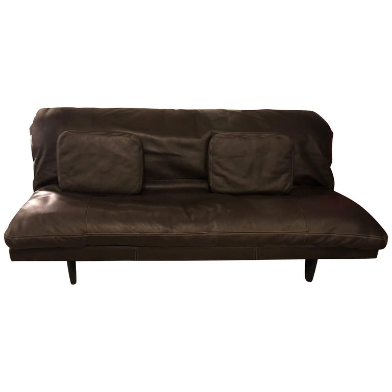 Antique Drop Arm Sofa: Antique French Leather Drop Arm Daybed Sofa With French