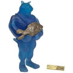 """Daum France Pate de Verre Glass and Bronze Sculpture, """"Illes De Kepvers"""" Signed"""