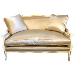Gilt and Paint Decorated Settee / Loveseat in a Fine Satin Upholstery