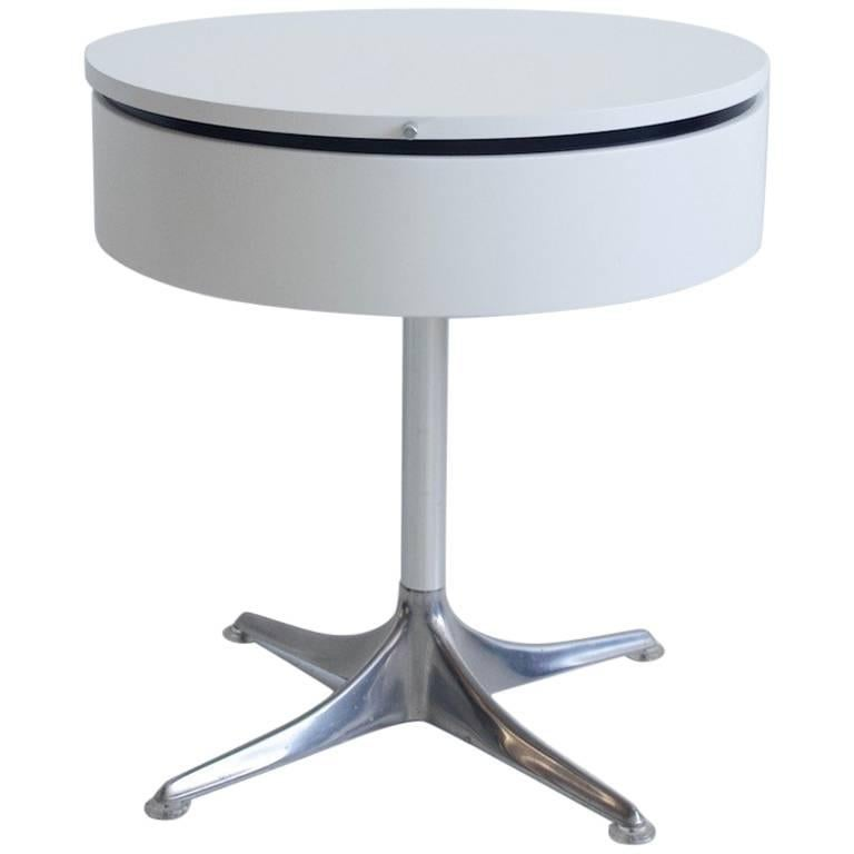 Horst Bruning for COR White Laminate and Aluminium Round Side Table