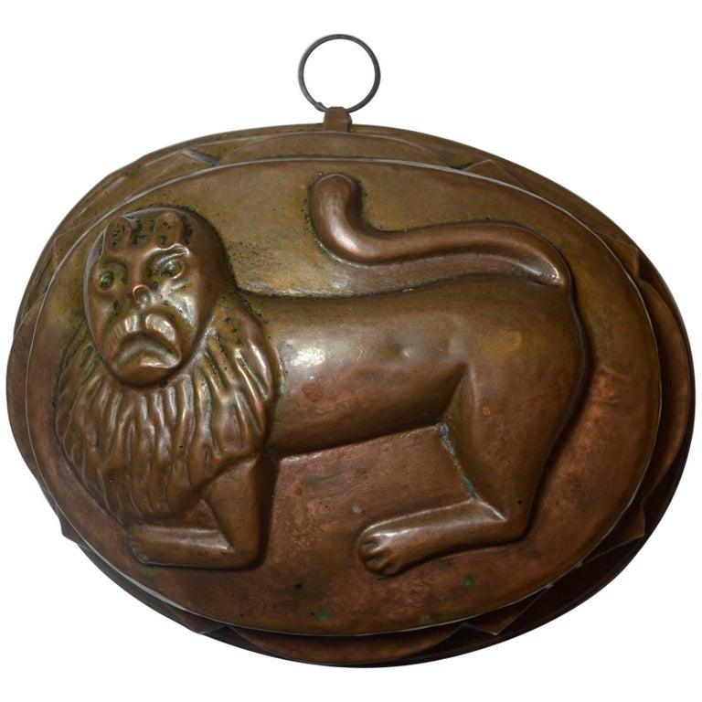 Rare Lion Design Antique Copper Mold