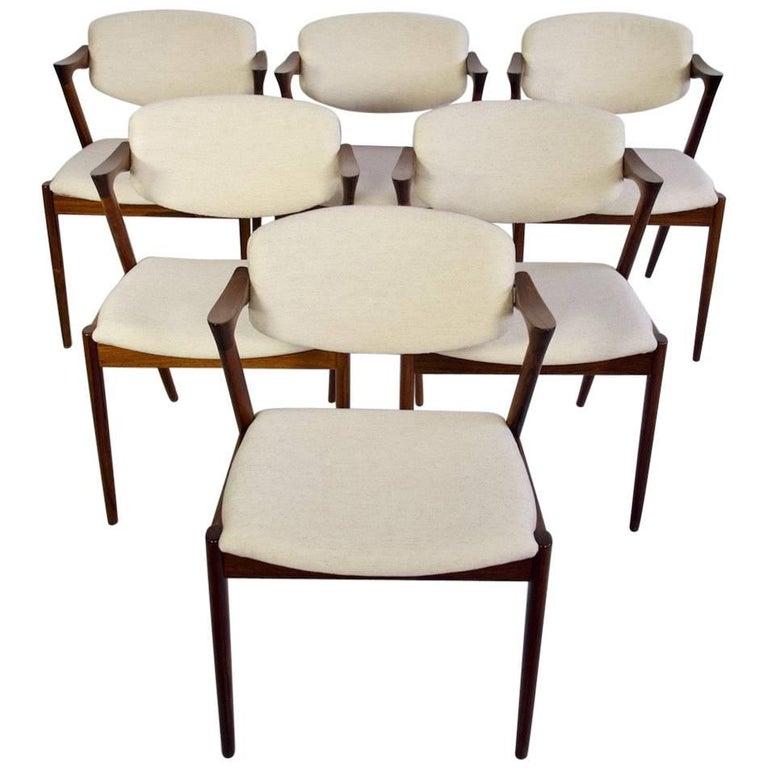Set of Six Kai Kristiansen Dining Chairs, Model 42