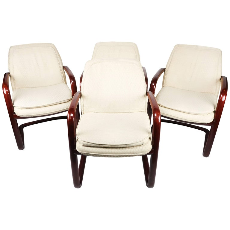 Set of Four Vintage Gunlocke Armchairs