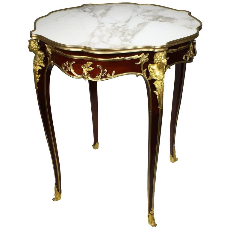 Louis XV Style Figural Gilt-Bronze Mounted Guèridon Table, F. Linke Attributed