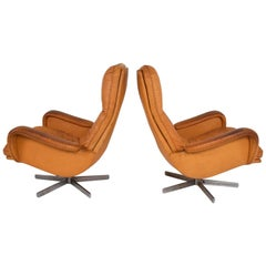 Midcentury Set of Two De Sede S 231 James Bond Swivel Arm Lounge Chairs, 1960s