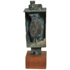 Midcentury Brutalist Bronze Sculpture in Walnut Base by Myrna Nobile, 1960s