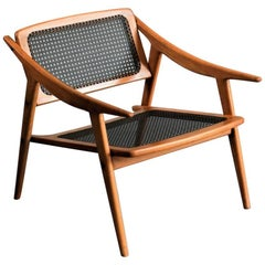 Andre Baudoin Rare Pair of Cane and Oak Lounge Chairs