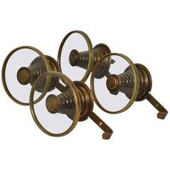 Set of Four Midcentury Italian Circular Brass and Glass Coat Racks, 1950s
