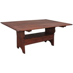 19th Century Farmhouse Harvest Table Monumental Top