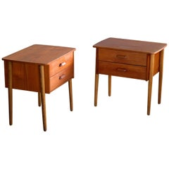 Pair of Danish Midcentury Bedside Tables Nightstands in Teak Made by Ørum Møbler