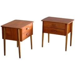 Pair of Danish Midcentury Nightstands in Teak and Oak Made by Ørum Møbler