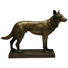 Early 20th Century Bronze Dog Statue Signed by Artist, circa 1940s