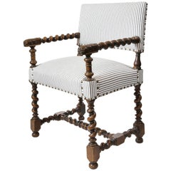 19th Century, French Louis xviii Style Carved Walnut Armchair