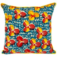 Red/Yellow and Yellow Backed African Wax Print Pillow