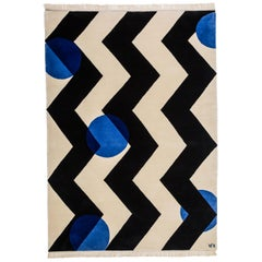 Black  white Wool Rug with shades of blue  by Cecilia Setterdahl for Carpets CC