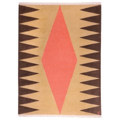 Interior Orange - Geometric Beige Peach Brown Wool Rug Patterns by Carpets CC
