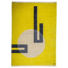 Hand Knotted Yellow Wool Rug w/ White Light hole/Black Line Design by Carpets CC