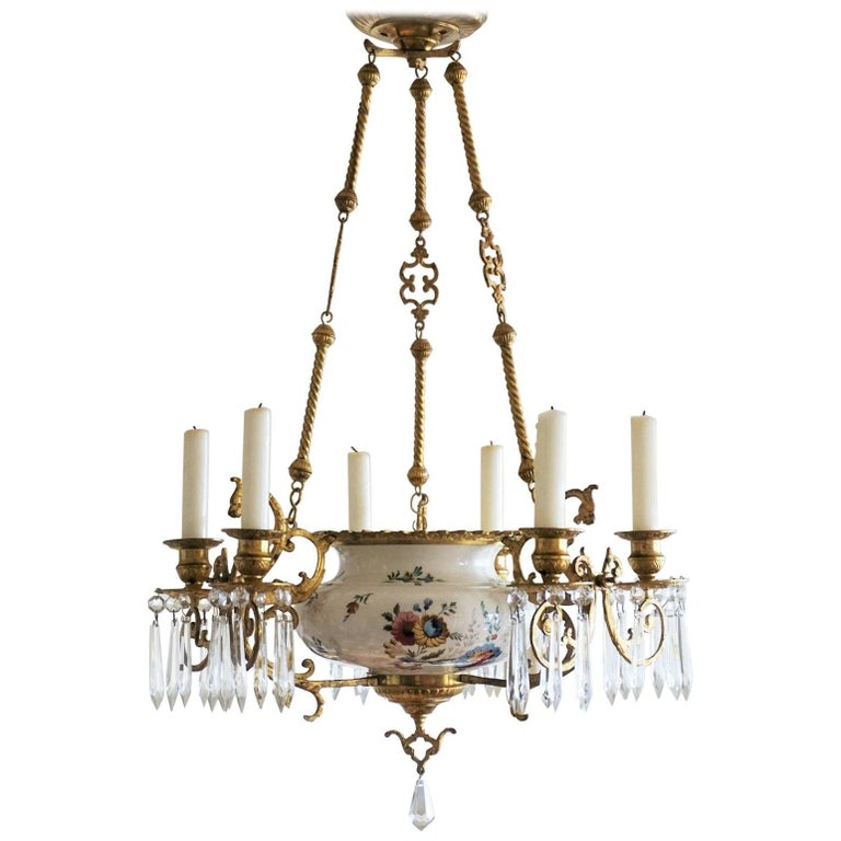19th Century French Dóre Bronze and Faience Candle Chandelier, Choisy-le-Roy