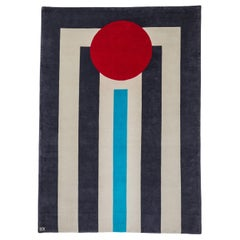 Hand Knotted Cream Wool Rug with Red Round & Blue/Brown Line Design, Carpets CC