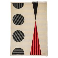 Cream Wool Rug, Art Deco Red & Black Colour by Cecilia Setterdahl for Carpets CC