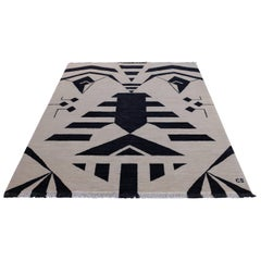 """Tribal (Black)"" One-of-a-Kind Hand-Knotted Wool Rug by Carpets CC"