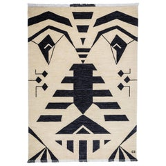 Cream Geometric Wool Rug / Black Tribal Face by Cecilia Setterdahl for Carpet CC
