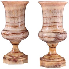 Rare Pair of 19th Century Campana Shaped Fluorspar Vases