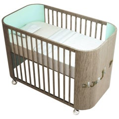 Embrace Dreams Crib in French Grey Wood & Light Celadon Green by Misk Nursery