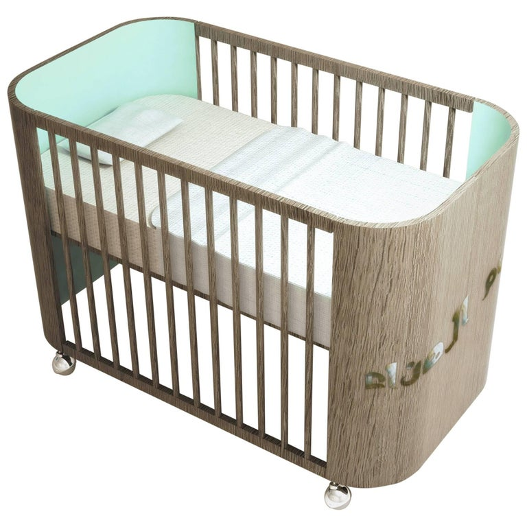 French Baby Furniture To Embrace Dreams Crib In French Grey Wood u0026 Light Celadon Green By Misk Nursery For Sale And