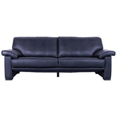 Ewald Schillig Leather Sofa Black Three-Seat
