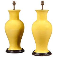 Pair of 20th Century Monochrome Vases Now as Lamps