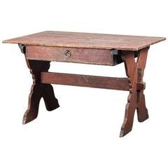 Swedish Cross Leg Desk with a Drawer